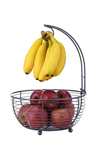 SunnyPoint Tabletop Wire Fruit Basket Bowl Stand with Banana Hanger, Black