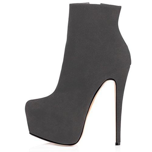 83822e125b7 Elashe Moda Clásicos Mujer Plataformas Botines Gris Tacón Para De Inch 6  Botas Zapatos rfvwBqdr
