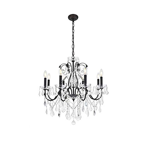 (2015 St. Francis Collection Chandelier D:26in H:23in Lt:8 Dark Bronze Finish (Royal Cut Crystals))