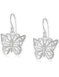 Sterling Silver Filigree Butterfly Drop Earrings