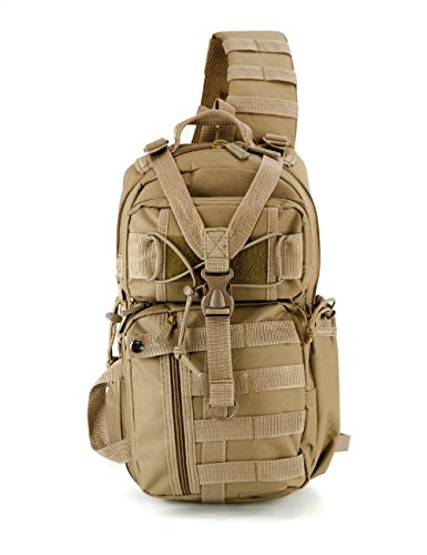 East West U.S.A RT525 Tactical Molle Assault Sling Shoulder Cross Body One Strap Backpack, Tan