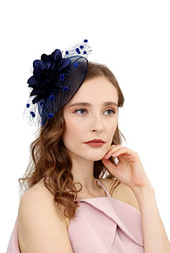 Fascinators Hats for Womens 50s Headwear with Veil Flower Cocktail Wedding Tea Party Church Derby Hat(1A-navy)