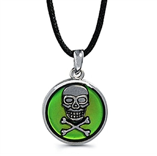Pirate Skull Cameo Necklace (Skull and Crossbones Cameo Mood Necklace)