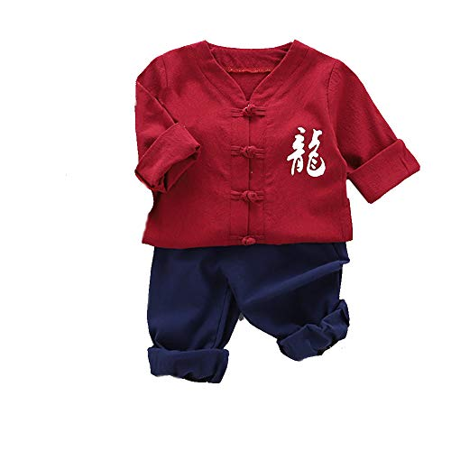 2Pcs/Set Kids Baby Boy Outfit Chinese Frog Button Long Sleeve Top Plain Pants for Vacations - Red 100cm -