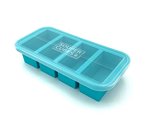 Souper Cubes Extra-Large Silicone Freezing Tray with Lid - makes 4 perfect 1cup portions - freeze soup broth or sauce