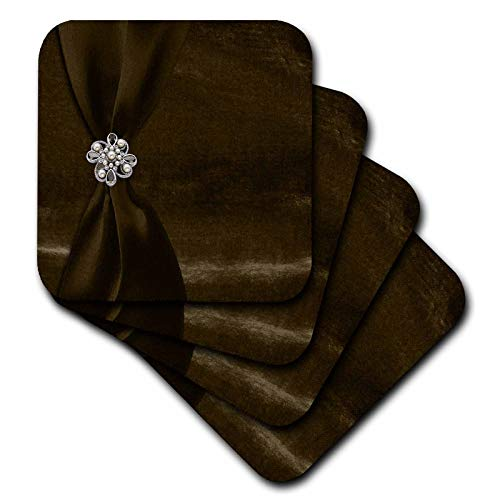 3dRose Beverly Turner Satin Ribbon Design - Brown Satin Ribbon on Velvet with Jewel - set of 8 Coasters - Soft (cst_49154_2) -