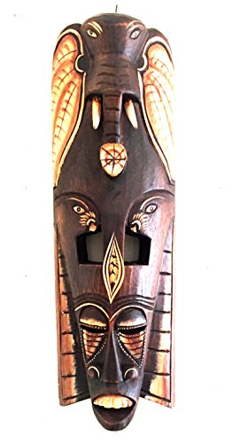 OMA African Mask Wall Hanging Decor Elephant Power Courage Mask Wall Art Decor Statue (20