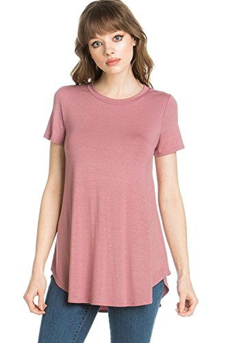 (Azules YFH Women's Scoop Neck Short Sleeve Scallop Round Hem Tunic Top T-Shirts (Small, Dusty Rose))