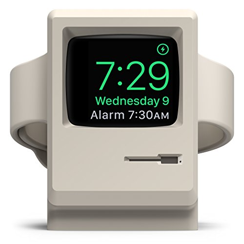elago W3 Stand [White] – [Vintage Apple Monitor][Supports Nightstand Mode][Cable Management] – for Apple Watch Series 1 and 2