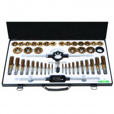Tap and Die Set 45 Piece SAE Titanium Nitride Coated Alloy Steel with Storage Case by Pittsburgh