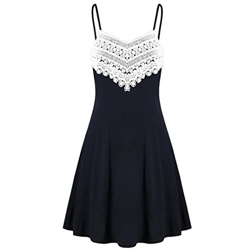 Lljin Fashion Womens Crochet Lace Backless Mini Slip Dress Camisole Sleeveless Dress (Black, M)