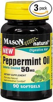 Mason Natural Peppermint Oil 50 mg Enteric Coated Softgels - 90 Softgels, Pack of 3