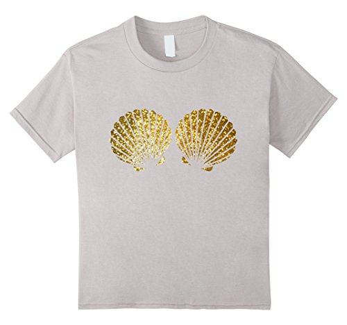 Funny Beach Party Costume Ideas (Kids Beautiful Gold Shells Mermaid Bra Birthday Party t Shirt 8 Silver)