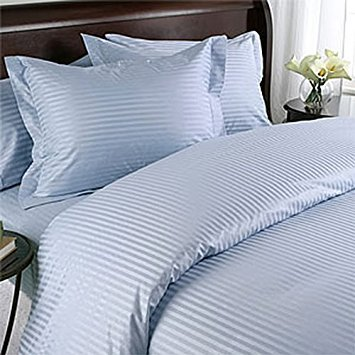- 1000 Thread Count Three (3) Piece Queen Size Blue Stripe Duvet Cover Set, 100% Egyptian Cotton, Premium Hotel Quality