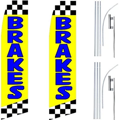 2 Swooper Flutter Feather Flags plus 2 Poles /& Ground Spikes BRAKES Checkered Blue Yellow Black
