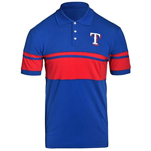 (FOCO MLB Texas Rangers Cotton Stripe Polo - Mens Extra Large)