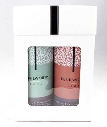 Kenilworth Teas Boxed Gift Set Twin Pack Tea Bag Tins (Vanilla Chai, Peppermint) (Gift Baskers)