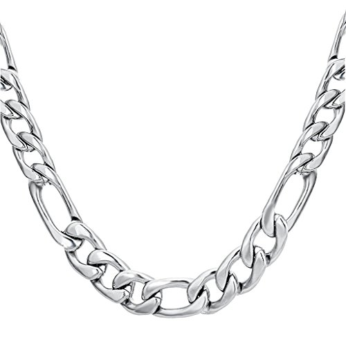 FIBO STEEL Stainless Steel Mens Womens Necklace Figaro Chain 9mm Wide, 28 inches