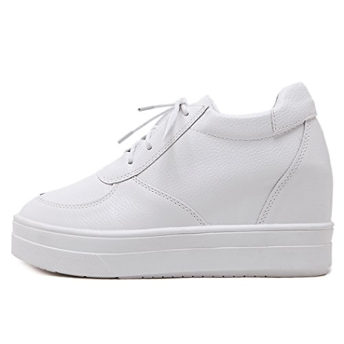 Lace Sneakers Toe Up White eshion Leather Women Round Synthetic Wedge 5wOqUxq