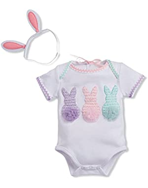 Baby-Girls Newborn Easter Crawler and Headband Set