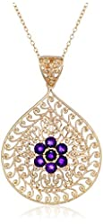 18k Yellow Gold-Plated Sterling Silver Gemstone Flower Pendant Necklace