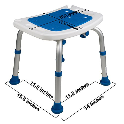 Pcp Bath Bench Shower Chair Safety Seat, Adjustable Height, Stability Grip Traction, Medical Grade Senior Living Spa Aid, Mobility Recovery Support, White/Blue by PCP (Image #2)