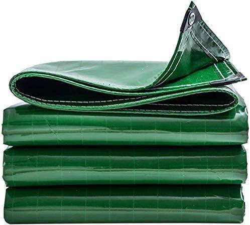 アイレット付き防水シートドライブウェイ用防水引裂き耐性キャンプウォータースライド雑草プールハンモック車ボートバイクガーデンウッドグリーン重量400 g / m2、3mx5m