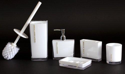PREMIUM Elegante Bad Garnitur mit Strass Applikationen (5-teilig) Edelweiß