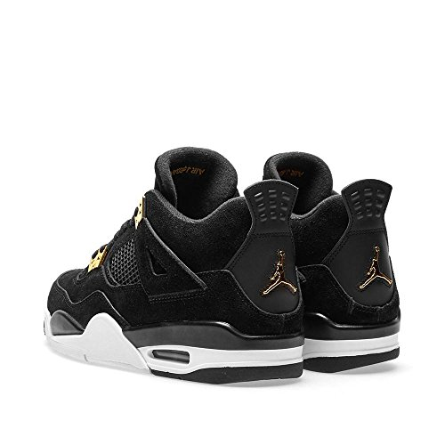 Jordan Nike Kinder Air 4 Retro BG Basketballschuh Schwarz, Metallic Gold-Weiß