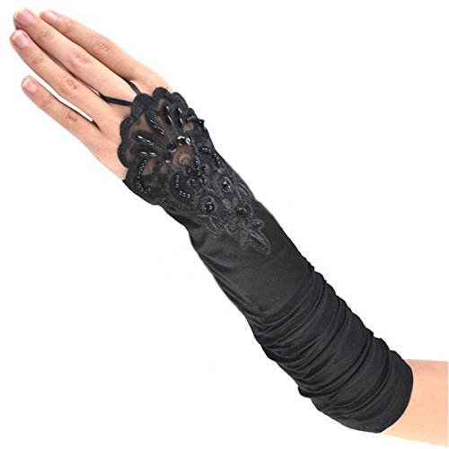 Silver Burlesque Costume (Tapp C. Fingerless Floral Embroidery Lace Opera Length Satin Gloves -)