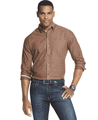 Brown Soil - Van Heusen Men's Air Long Sleeve Button Down Shirt, Brown Potting Soil, Medium