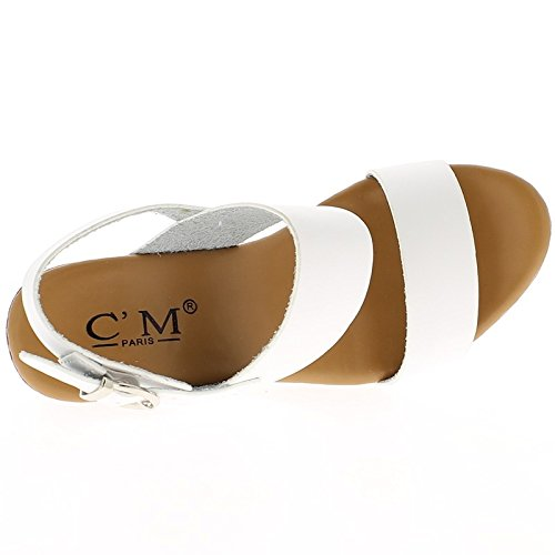 Sandali bianchi con grosso tacco 9,5 cm