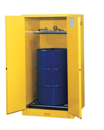 Justrite 896260 Sure-Grip Drum Cabinet with Rollers, Manual-Close, 55 Gal, Yellow