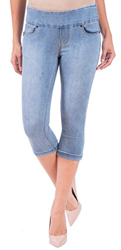 Mlb 6 Button (Lola Jeans Women's Michelle Mid Rise Pull On Capri Denim (Medium Light Blue, 29/6))