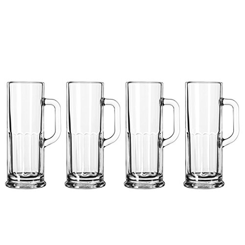 German Style Frankfurt Paneled Mini Beer Stein Mugs Glasses - 4 oz - Set of 4 Mugs