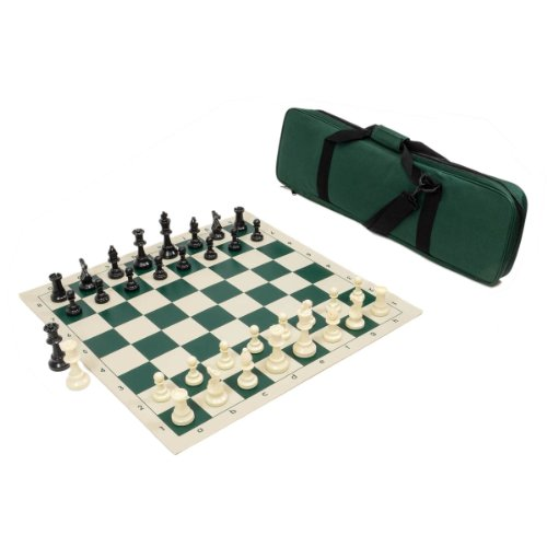Heavy Tournament Triple Weighted Chess Set Combo - Forest Green - Chess Set Bag