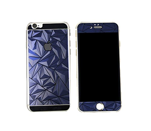 Iphone 6 4 7Inch Premium Hd Mirror Effect 3D Triangle Diamond Electroplated Tempered Glass Screen Protector For Apple Iphone 6 4 7Inch  Anti Scratch Bubble Free Anti Fingerprint  Blue