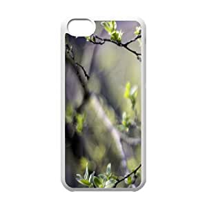 Branches with Leaves IPhone 5C Cases, Case for Iphone 5c for Girls Protector Cute Okaycosama - White