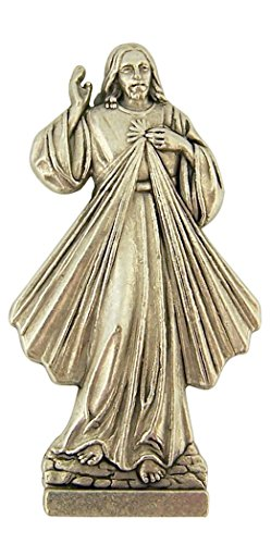 (Silver Tone Divine Mercy Pocket Statue with Gold Stamped Prayer Card, 1 1/2 Inch)