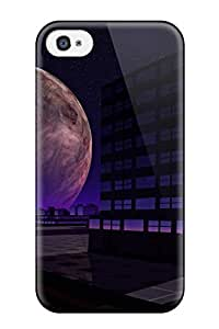 Special Design Back Futuristic City Moon Phone Case Cover For Iphone 4/4s