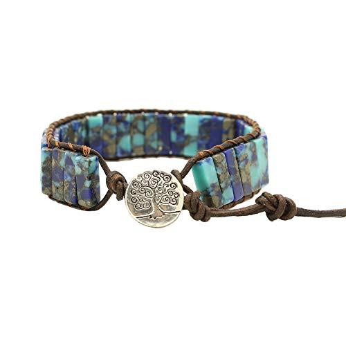 (Bonnie Bead Wrap Tube Shape Natural Stone Single Beaded Leather Rope Wrap Bracelet for Women (Lapis Phoenix Stone)