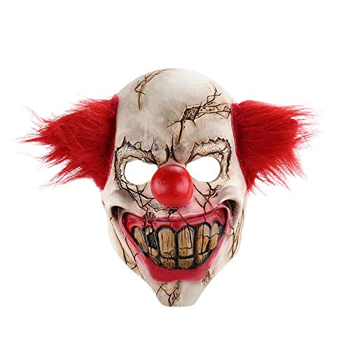 Nuoka Halloween Costume Horror Scary Latex Clown Mask with Red Hair (Red) -