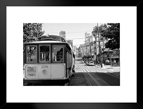 Poster Foundry Cable Car in San Francisco California Black and White B&W Photo Art Print Matted Framed Wall Art 26x20 ()