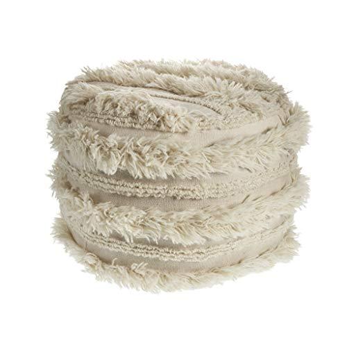 "LR Home Fluffy Fur Ottoman Pouf 12""X16"" Ivory"