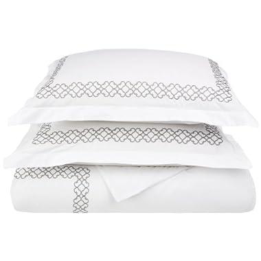 Clayton Luxury Embroidery 100% Cotton King/California King 3 pc Duvet Cover Set, White/ Grey
