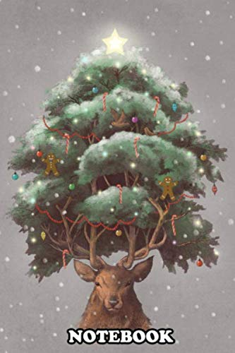 """Notebook: Reindeer Tree , Journal for Writing, College Ruled Size 6"""" x 9"""", 110 Pages"""