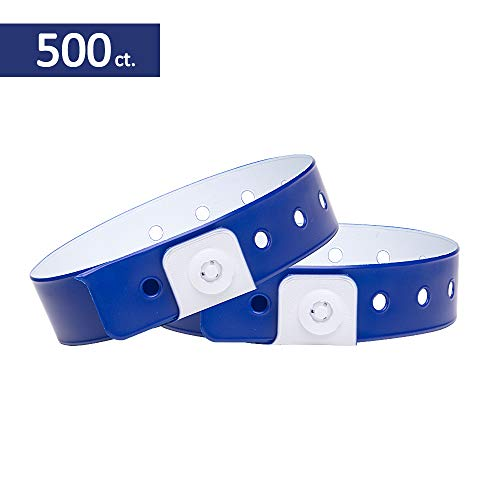 Ouchan Plastic Wristbands Navy Blue - 500 Pack Wristbands for Events Club Music Meeting Party