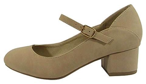 City Classified Comfort Women's Mary Jane Mid Chunky Block Heel Pump (8 B(M) US, Natural Nubuck) - Mary Jane Shoe Block Heel
