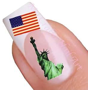 American Flag Water Nail Art Decal / Tattoo / Sticker