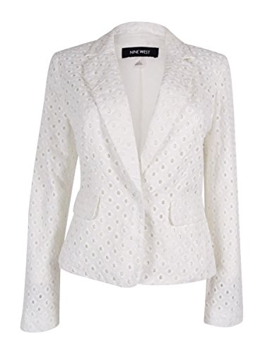 Nine West Womens Eyelet Pattern One-Button Blazer White 4